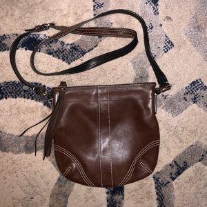 Coach Brown Leather Crossbody Mini Bag👜